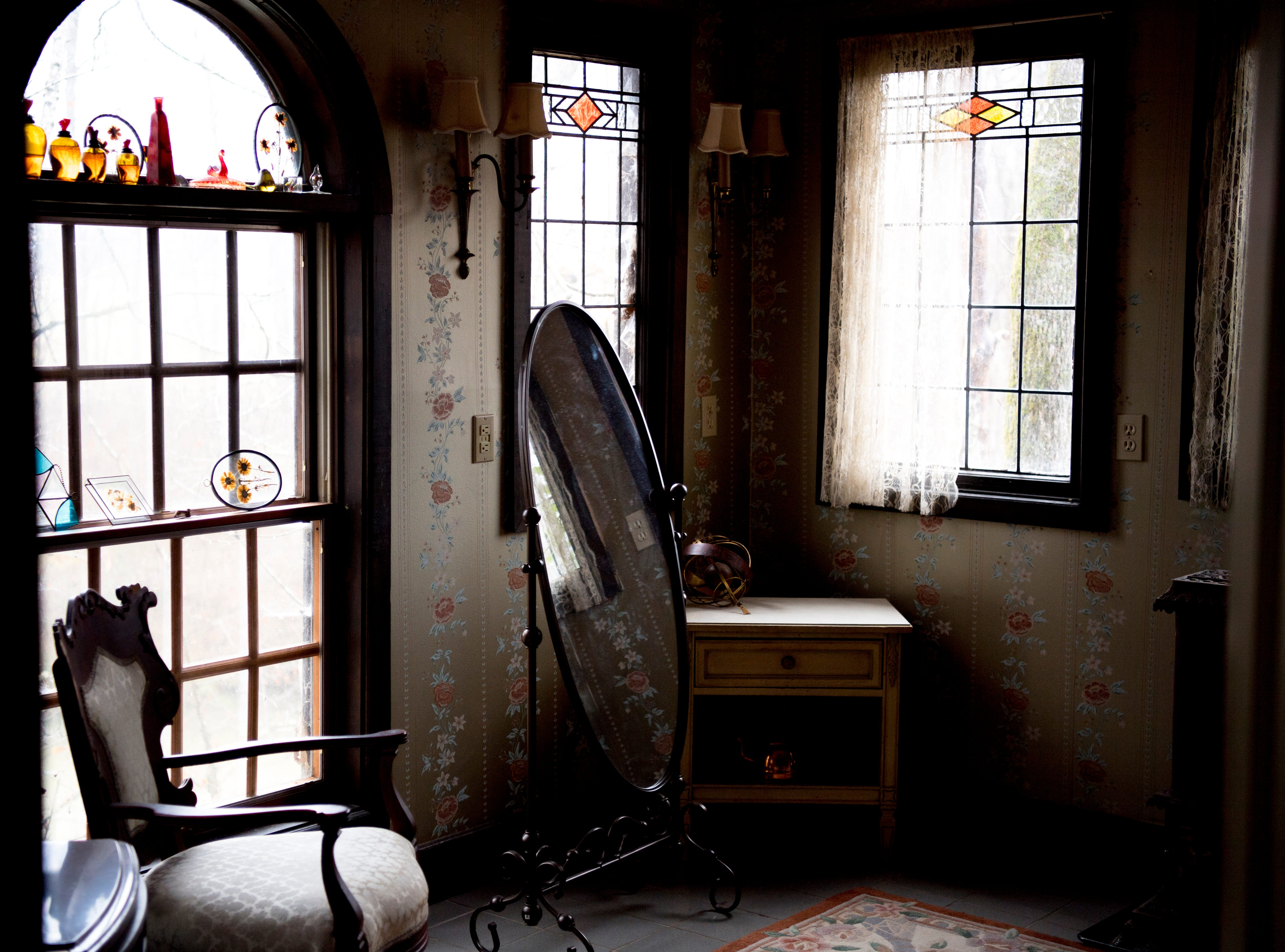 A dressing room inside Williamswood Castle in South Knoxville, Tennessee on Thursday, January 17, 2019. The home, modeled after a medieval castle, was built by Julia Tucker in 1991 and took 6 years to complete. Many of the items in the home were sourced from around the Knoxville area.