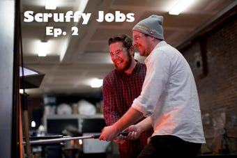 Scruffy City reporter Ryan Wilusz teamed with Matthew Cummings of Pretentious Glass Co. to get a hands-on look at how the glass is actually made in Knoxville.