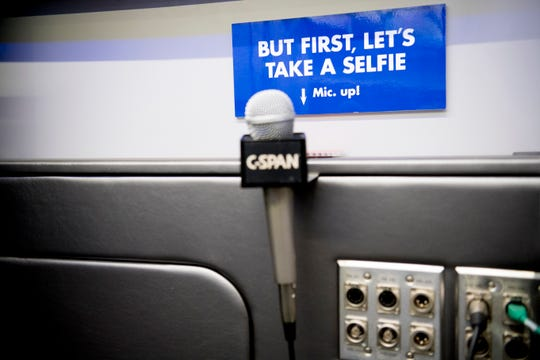 A C-SPAN microphone is set up inside the C-SPAN Bus during a tour stop at Fulton High School in Knoxville on Thursday.