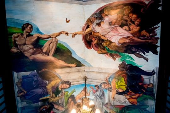 A painted ceiling inside the master bedroom features family members in the painting inside Williamswood Castle in South Knoxville, Tennessee on Thursday, January 17, 2019. The home, modeled after a medieval castle, was built by Julia Tucker in 1991 and took 6 years to complete. Many of the items in the home were sourced from around the Knoxville area.