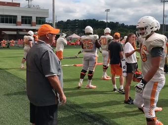 Phillip Fulmer was seen helping the offensive linemen during a coaching drill last fall.
