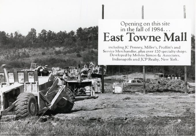 The sign at the East Towne Mall work site, October, 1982.