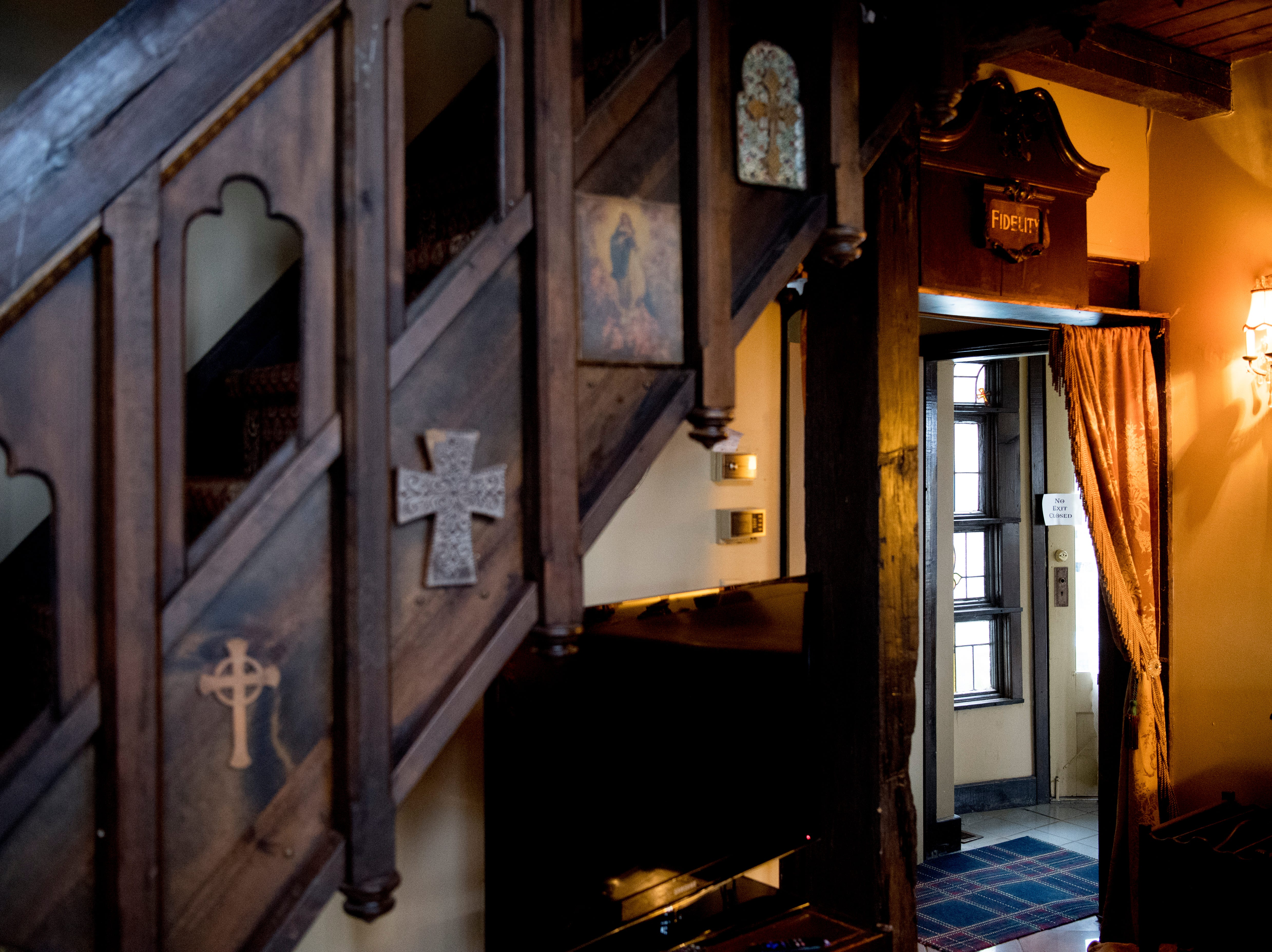 A staircase leads to the upstairs library in the master bedroom inside Williamswood Castle in South Knoxville, Tennessee on Thursday, January 17, 2019. The home, modeled after a medieval castle, was built by Julia Tucker in 1991 and took 6 years to complete. Many of the items in the home were sourced from around the Knoxville area.