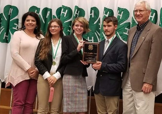 The Knox County 4-H Team is the state winner in the 2018 Tennessee 4-H Poultry Judging at the UT Animal Science Building. Shown are extension agent Sharon Davis, 10th graders Portia Sauerhoefer, Kendra Sellers, Lane Atchley and coach Danny Bullington. October 13, 2018.