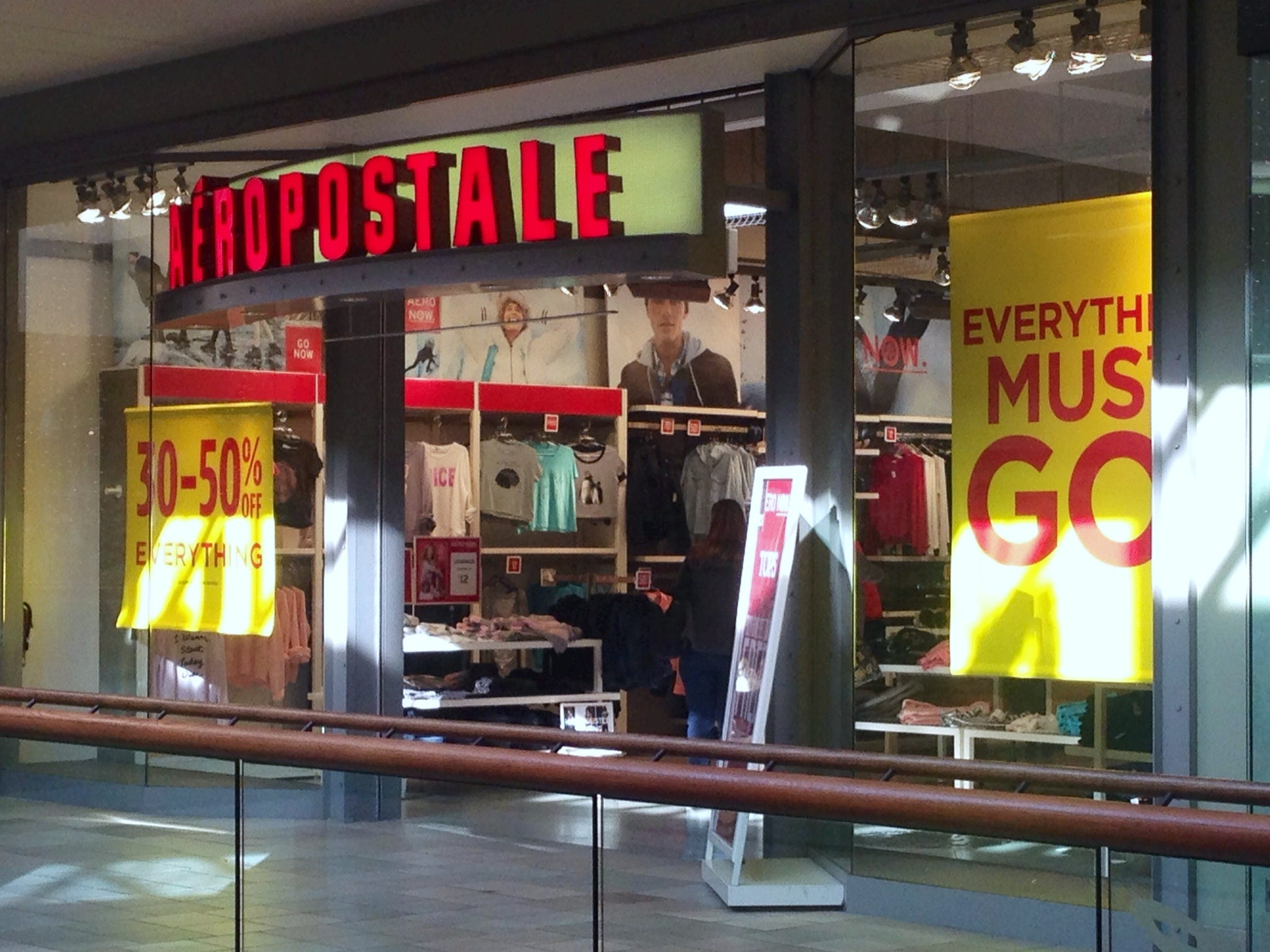 The Aéropostale store at Knoxville Center mall will be closing after the holidays.