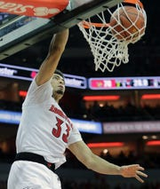 Louisville's Jordan Nwora with a slam dunk to highlight a game against Boston College where he had 32 points and 10 rebounds.