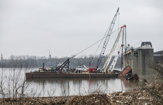 Ohio River Barges Sink In Louisville After Bridge Crash