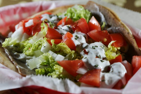 A gyro awaits those who come to the Virgin Mary Orthodox Church, 801 Montecito Drive on Super Bowl Sunday.