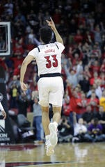 Jordan Nwora celebrates another 3 vs. Boston College.