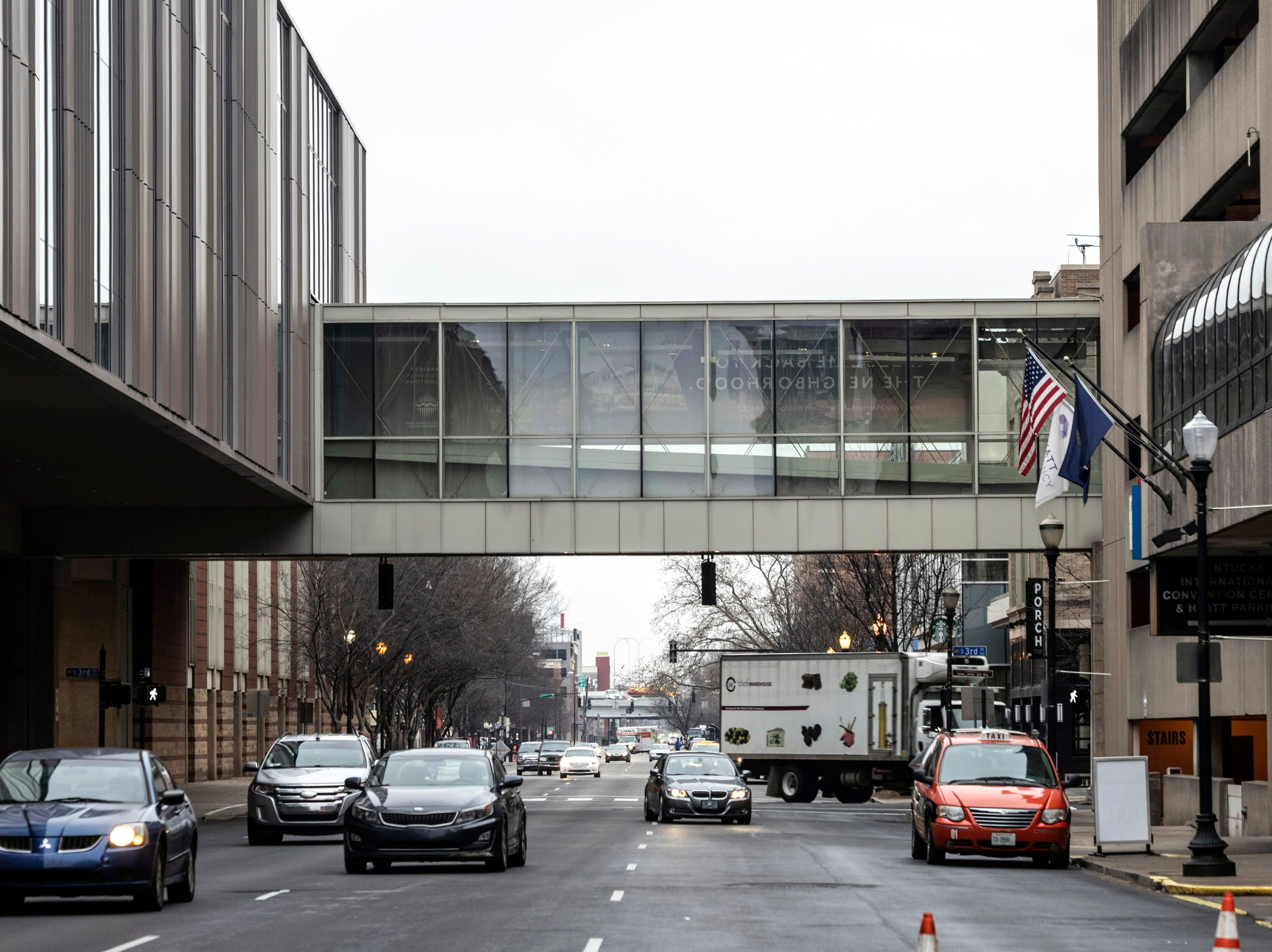 The portion of Louie Link that spans Jefferson Street provides covered access to the Kentucky International Convention Center for nearby hotel guests. 1/16/19