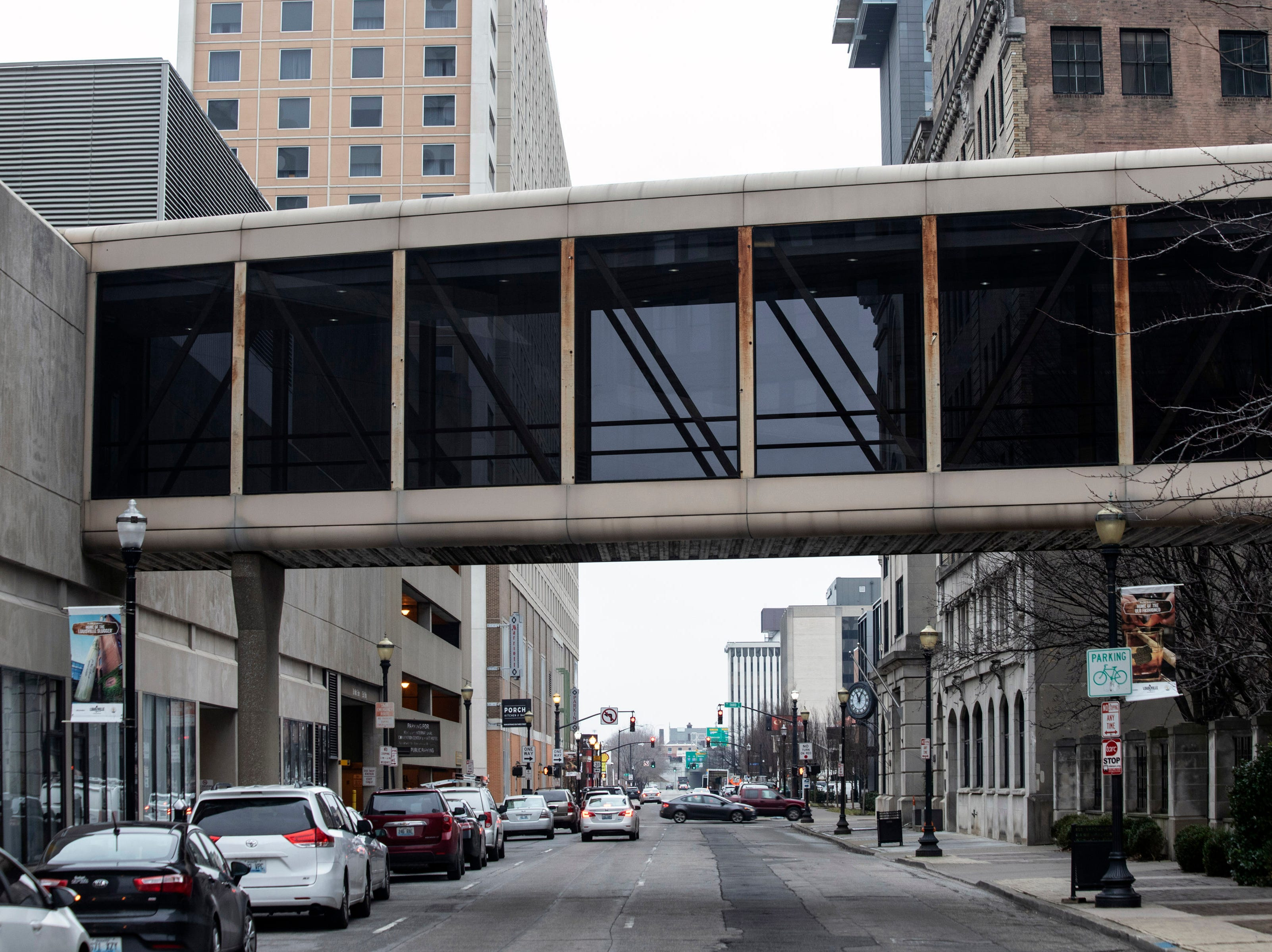 The Louie Link that stretches over Liberty Street connects the Hyatt Hotel to the Brown & Williamson Tower and ultimately Fourth Street Live. 1/16/19