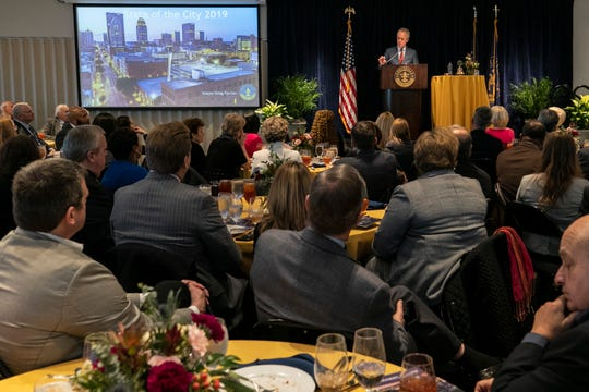 Mayor Greg Fischer during the annual State of the City address at the Muhammad Ali Center on Jan. 17.