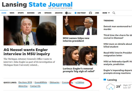 The e-Edition can be found under Quick Links at LSJ.com.