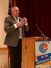 OHSAA Executive Director Jerry Snodgrass speaks at Tuesday's Rotary Club meeting at the Palace's May Pavilion.