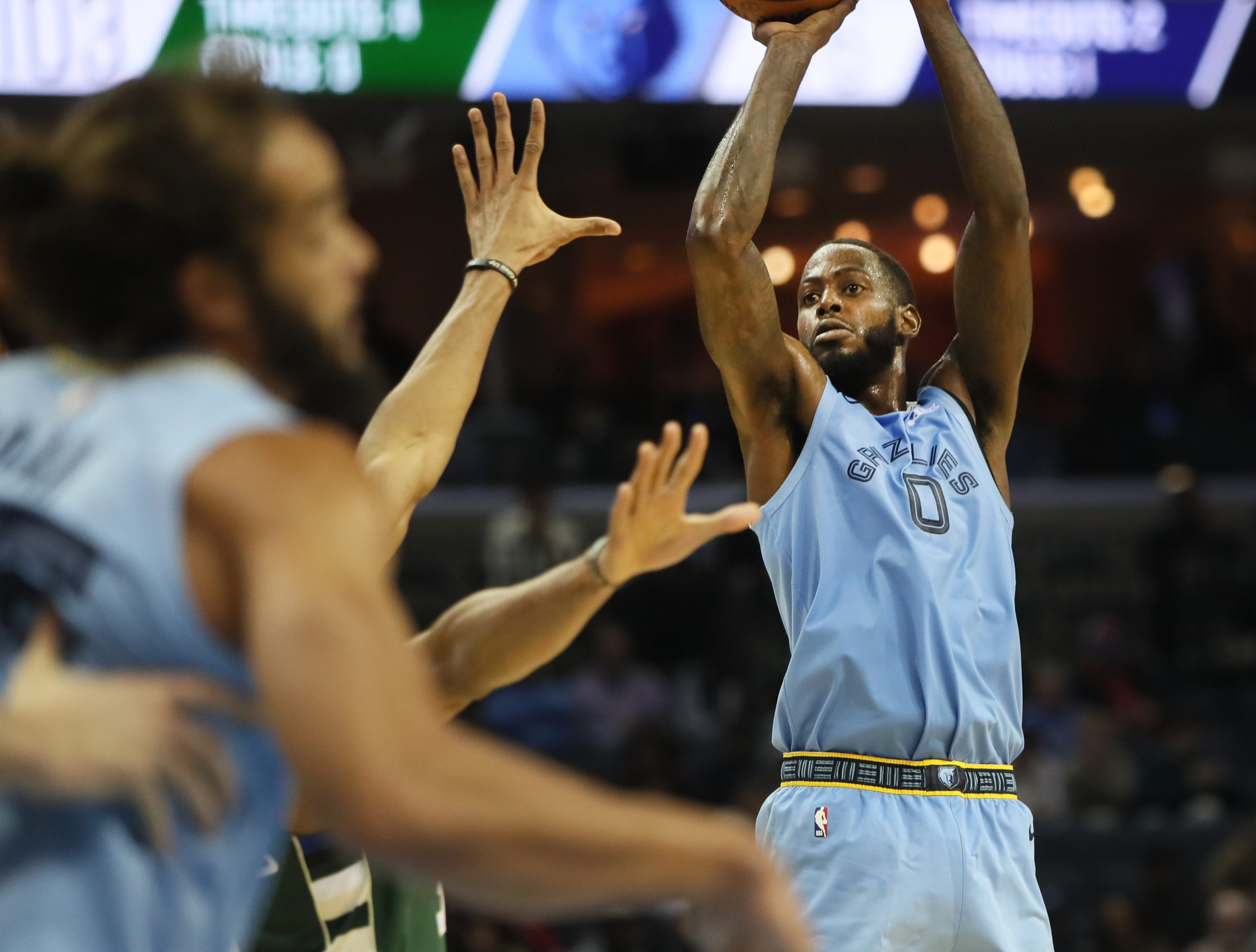 Memphis Grizzlies forward JaMychal Green shoots the ball against the Milwaukee Bucks during their game at the FedExForum on Wednesday, Jan. 16, 2019.