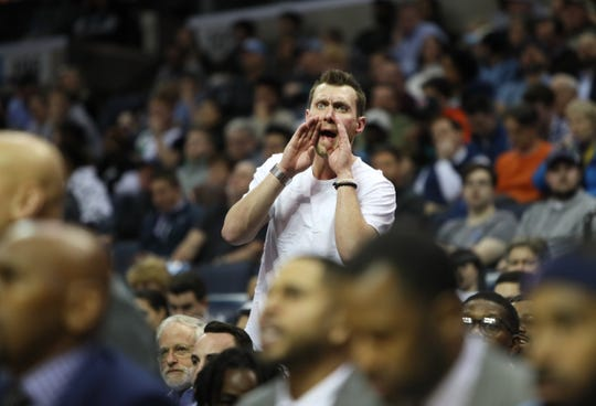 Fans yell out to the players as the Memphis Grizzlies take on the Milwaukee Bucks during their game at the FedExForum on Wednesday, Jan. 16, 2019.