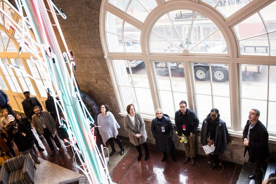 January 17 2019 - Adam Slovis, far right, speaks at the Tennessee Brewery during a bus tour hosted by the Downtown Memphis Commission. During the tour the Downtown Memphis Commission gave updates on many of the projects involved in downtown Memphis.