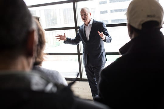 January 17 2019 - Daniel Weickenand, CEO Orion Federal Credit Union, speaks during a bus tour hosted by the Downtown Memphis Commission. During the tour the Downtown Memphis Commission gave updates on many of the projects involved in downtown Memphis.