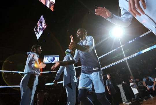 Memphis Grizzlies forward Justin Holiday is introduced before their game against the Milwaukee Bucks at the FedExForum on Wednesday, Jan. 16, 2019.