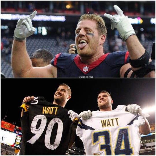 JJ (top), Derek and TJ Watt all played at Pewaukee High School and then at Wisconsin. They're now all in the NFL.