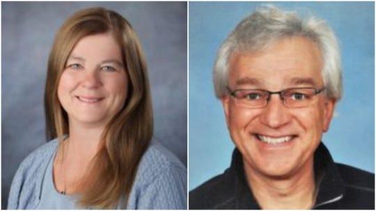 Oconomowoc School Board member Sandy Schick (left) accused fellow board member Dan Raasch (right) of unethical behavior at the board's Jan. 15 meeting.