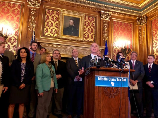 Assembly Speaker Robin Vos, R-Rochester, introduces a proposal to pay for Gov. Tony Evers' proposed 10 percent tax cut.