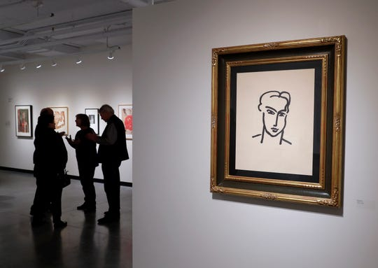 Henry Matisse, untitled, unknown, monotype on paper, is seen on a large wall at the new art gallery.