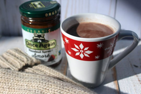 Hazelnut spread, such as Once Again Nut Butter's Amore, lends a distinctive flavor to hot chocolate.