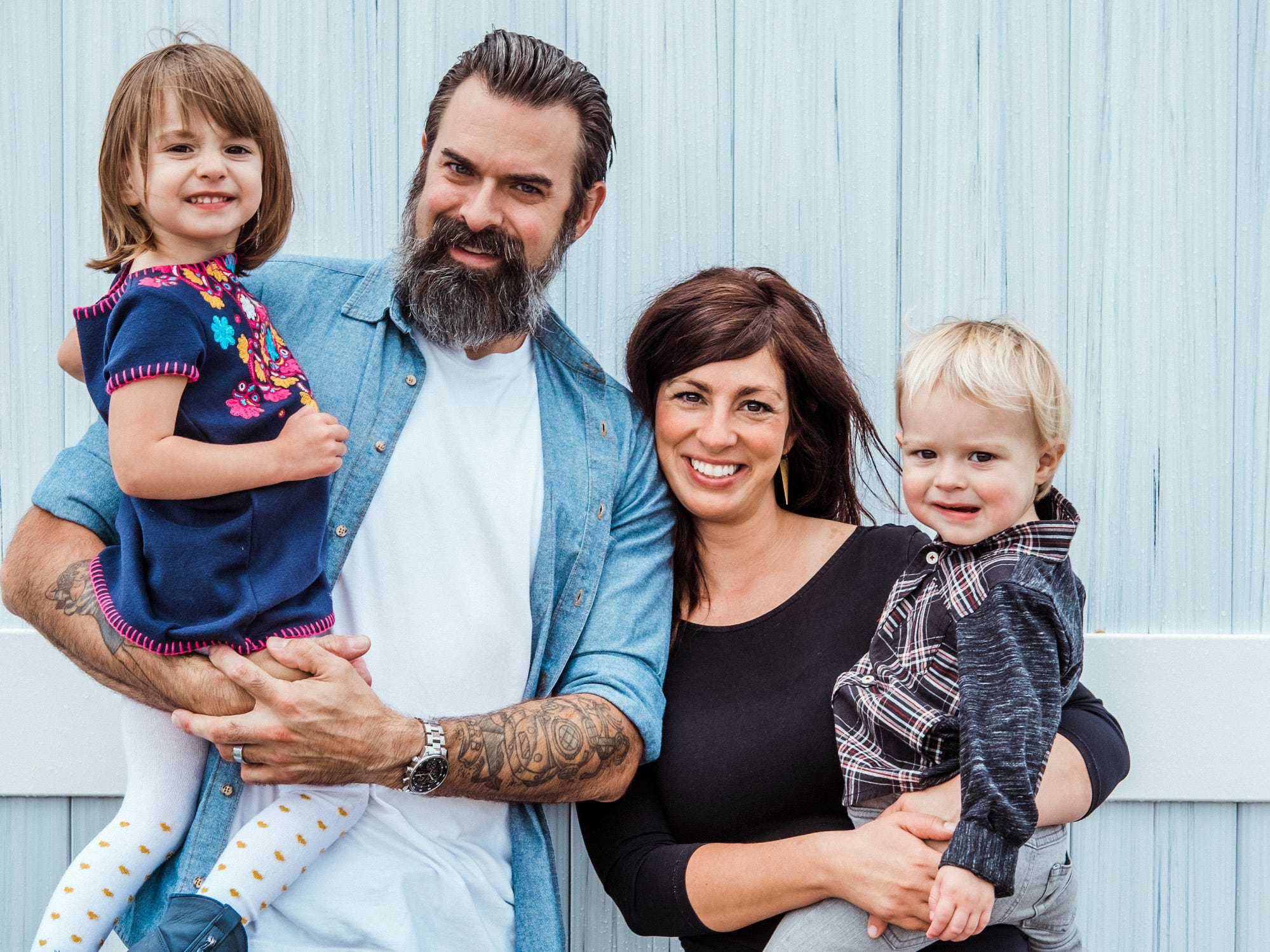 The family: Krysta Hutton with husband Chris, daughter Ruby and son Rex.
