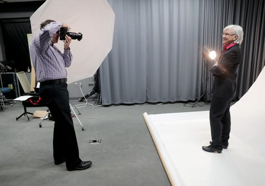 Wisconsin Department of Veterans Affairs Secretary-designee Mary M. Kolar has her portrait taken by photographer Eugene Russell.