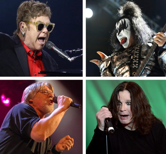 A flurry of farewell tours are taking place in 2019, featuring (from top left) Elton John, KISS, Ozzy Osbourne and Bob Seger.