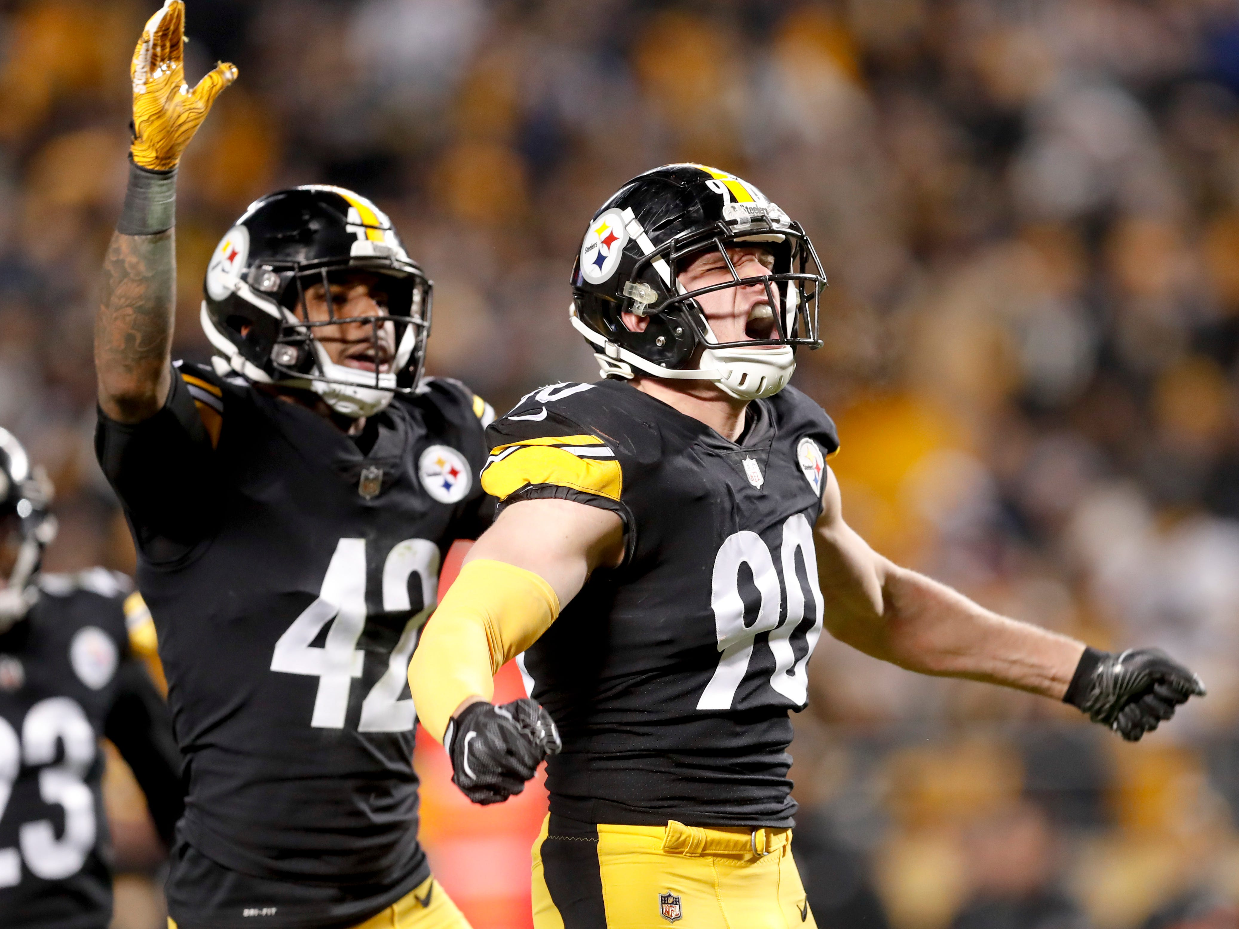Pittsburgh Steelers outside linebacker T.J. Watt (90) celebrates a defensive play against the Cincinnati Bengals in the third quarter of a Week 17 game against the Cincinnati Bengals, Sunday, Dec. 30, 2018, in Pittsburgh. Watt had seven tackles, 1 sack and 1 tackle for a loss.