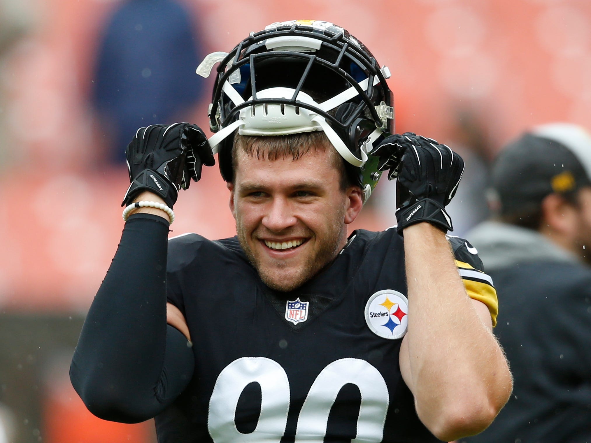 Pittsburgh Steelers linebacker T.J. Watt smiles during warm ups before a Week 1 game against the Cleveland Browns, Sunday, Sept. 9, 2018, in Cleveland. The two teams tied, 21-21.