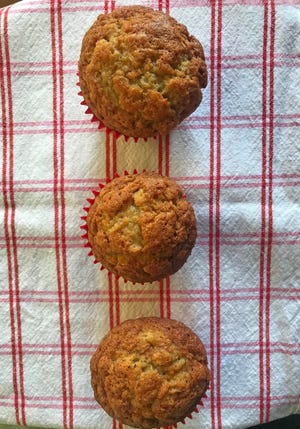 For these banana muffins, and any muffins, starting the oven at 500 degrees will result in perfectly domed, golden brown tops.