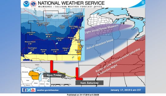 The National Weather Service says southeastern Wisconsin could get hit with 4-8 inches of snow late Friday into Saturday.