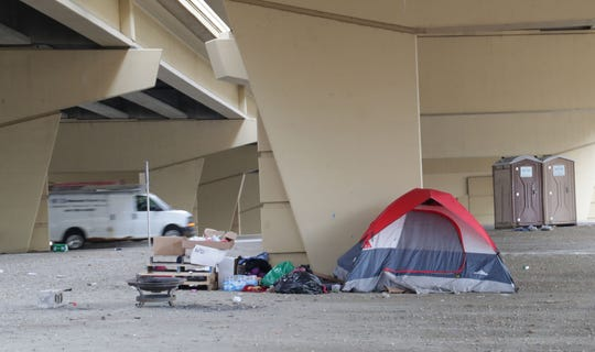"Homeless people in Milwaukee have been setting up camp at what they call ""Tent City,"" under the I-794 overpass at North 6th and West Clybourn streets."