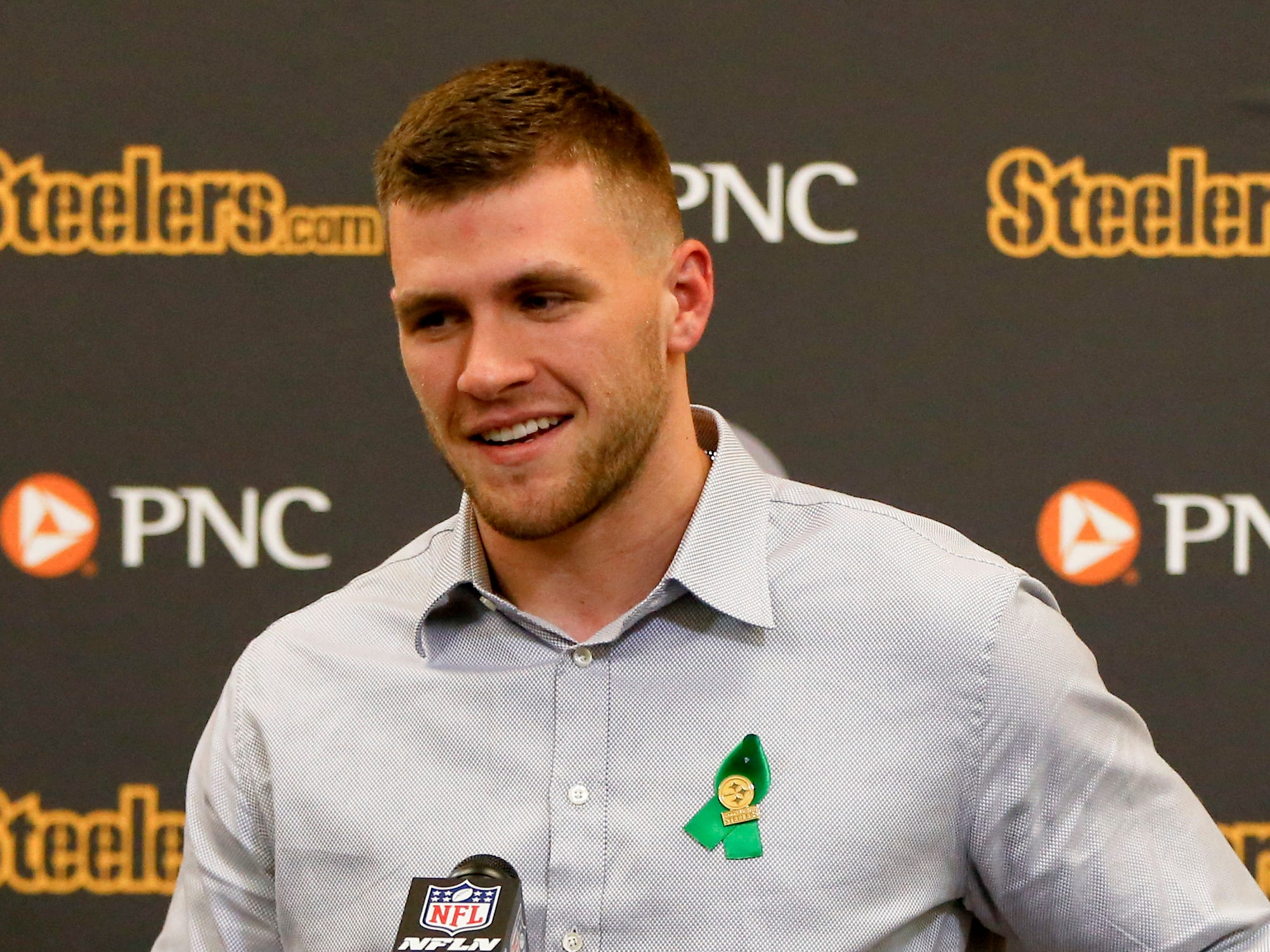 Pittsburgh Steelers first round pick T.J. Watt, a linebacker out of Wisconsin, speaks during a news conference Friday, April 28, 2017, in Pittsburgh.