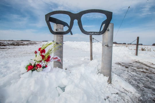 Black eyeglasses mark the beginning of the trek to the site of a 1959 plane crash that killed Buddy Holly, The Big Bopper, Ritchie Valens and the pilot.