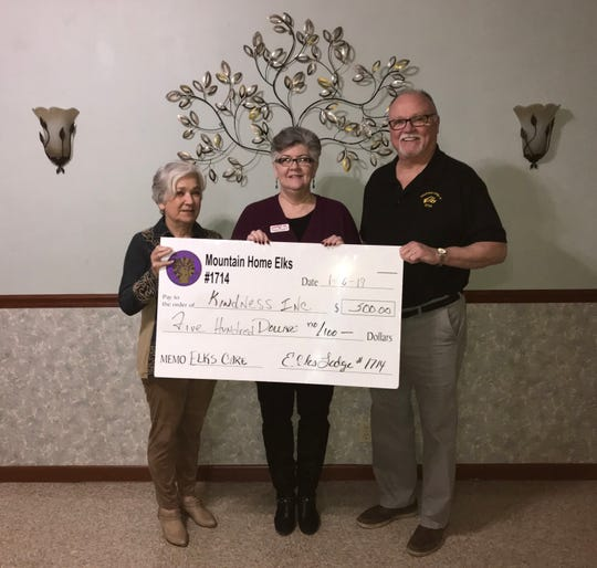 The Mountain Home Elks Lodge recently donated $500 to Kindness Inc. to help provide essential services to area seniors who need help to remain independent in their own homes. Pictured are: (from left) Sherie Brown, Elks grant coordinator; Debbie Wamock, Kindness Inc. executive director; and Wayne Markham, Elks president.