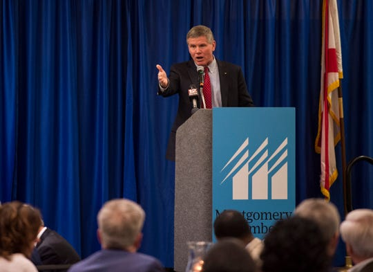 Pike Road Mayor Gordon Stone speaks during the State of the City and County in Montgomery, Ala., on Thursday, Jan. 17, 2019.