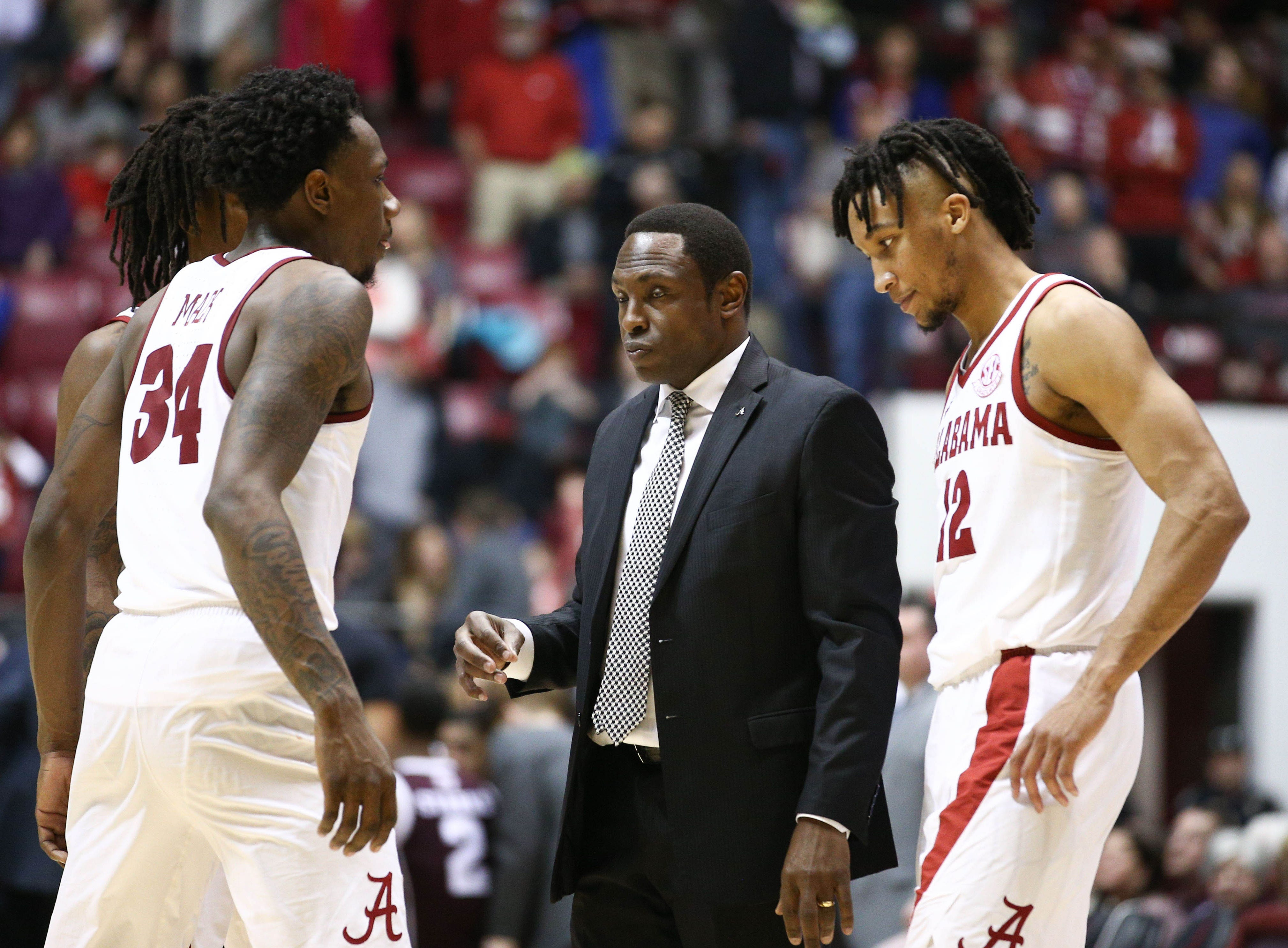 Jan 12, 2019; Tuscaloosa, AL, USA; Alabama Crimson Tide head coach Avery Johnson prepares to talk to his team during a timeout during the second half against Texas A&M Aggies at Coleman Coliseum. Mandatory Credit: Marvin Gentry-USA TODAY Sports