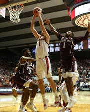 Jan 12, 2019; Tuscaloosa, AL, USA; Alabama Crimson Tide guard Riley Norris (1) goes to the basket against Texas A&M Aggies forward Josh Nebo (32) during the second half at Coleman Coliseum. Mandatory Credit: Marvin Gentry-USA TODAY Sports