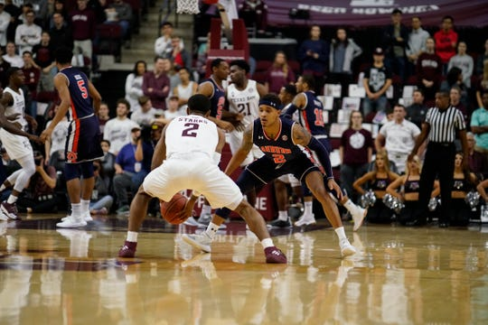 Auburn guard Bryce Brown defends Texas A&M TJ Starks on Jan. 16, 2019, in College Station, Texas.
