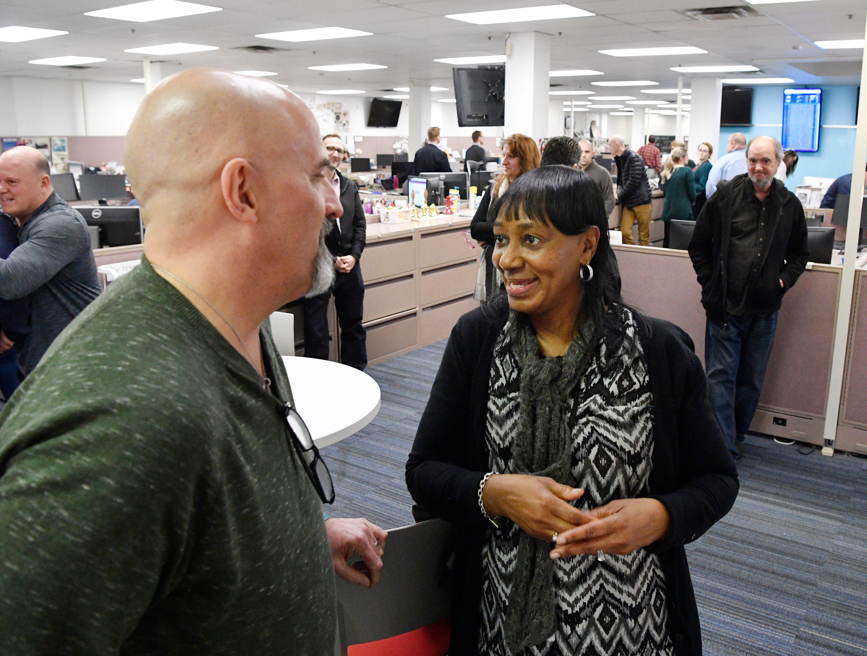 Jeff Walter talks with Beverly Burnett in The Tennessean newsroom Wednesday, Jan. 2, 2019, in Nashville.