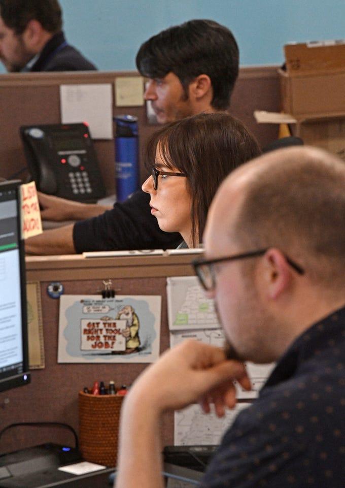 Ayrika Whitney works on the online desk in The Tennessean newsroom Wednesday, Jan. 2, 2019, in Nashville.