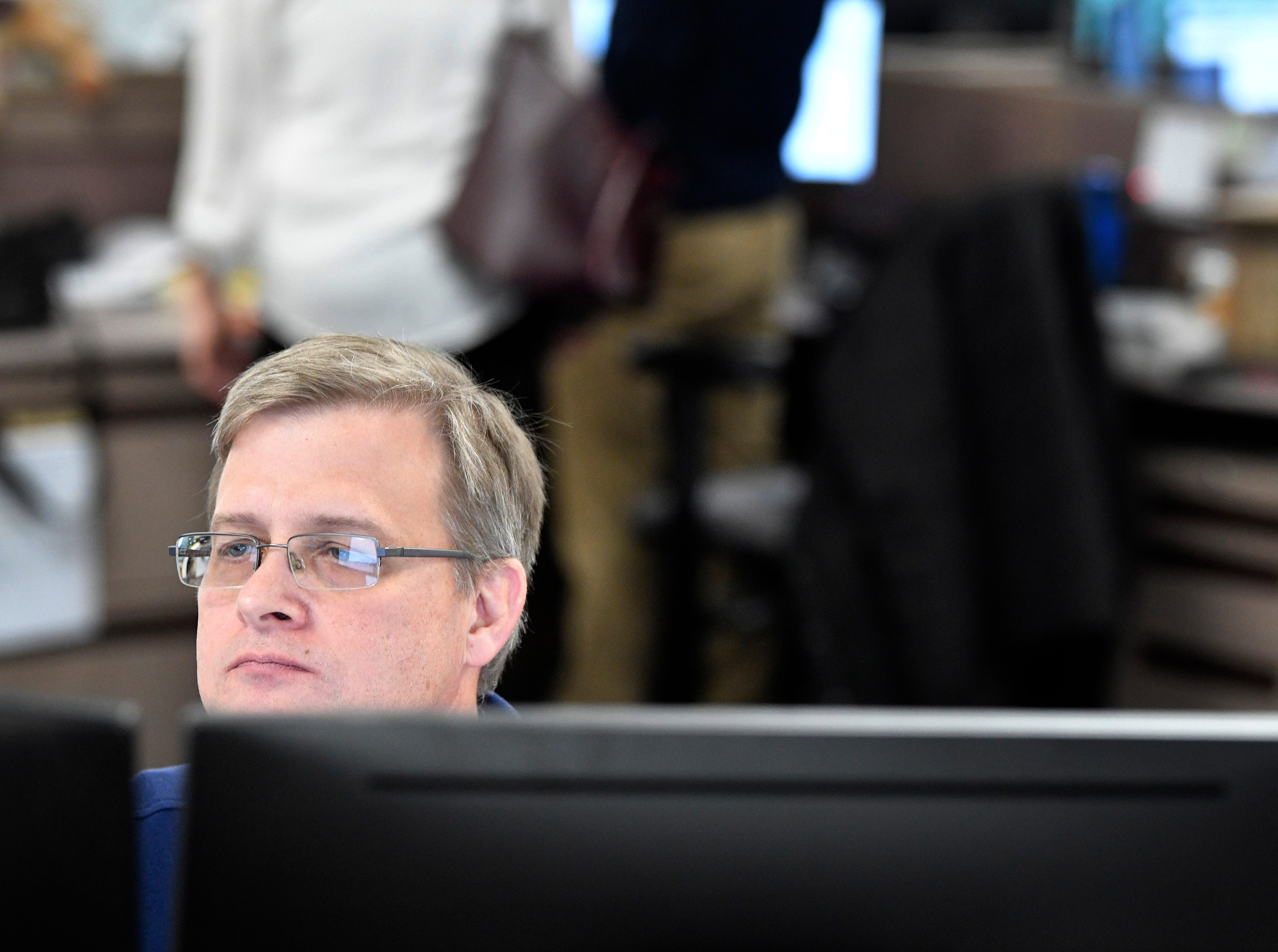 Producer Kevin Procter works in The Tennessean newsroom Wednesday, Jan. 2, 2019, in Nashville.
