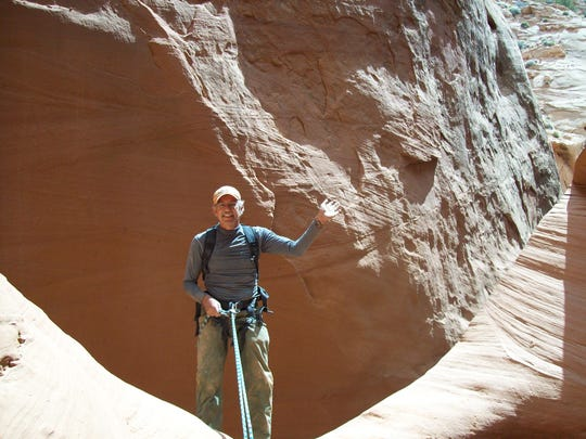 Louis Cicotello on rappel in Alcatraz Canyon, Utah, in 2008.