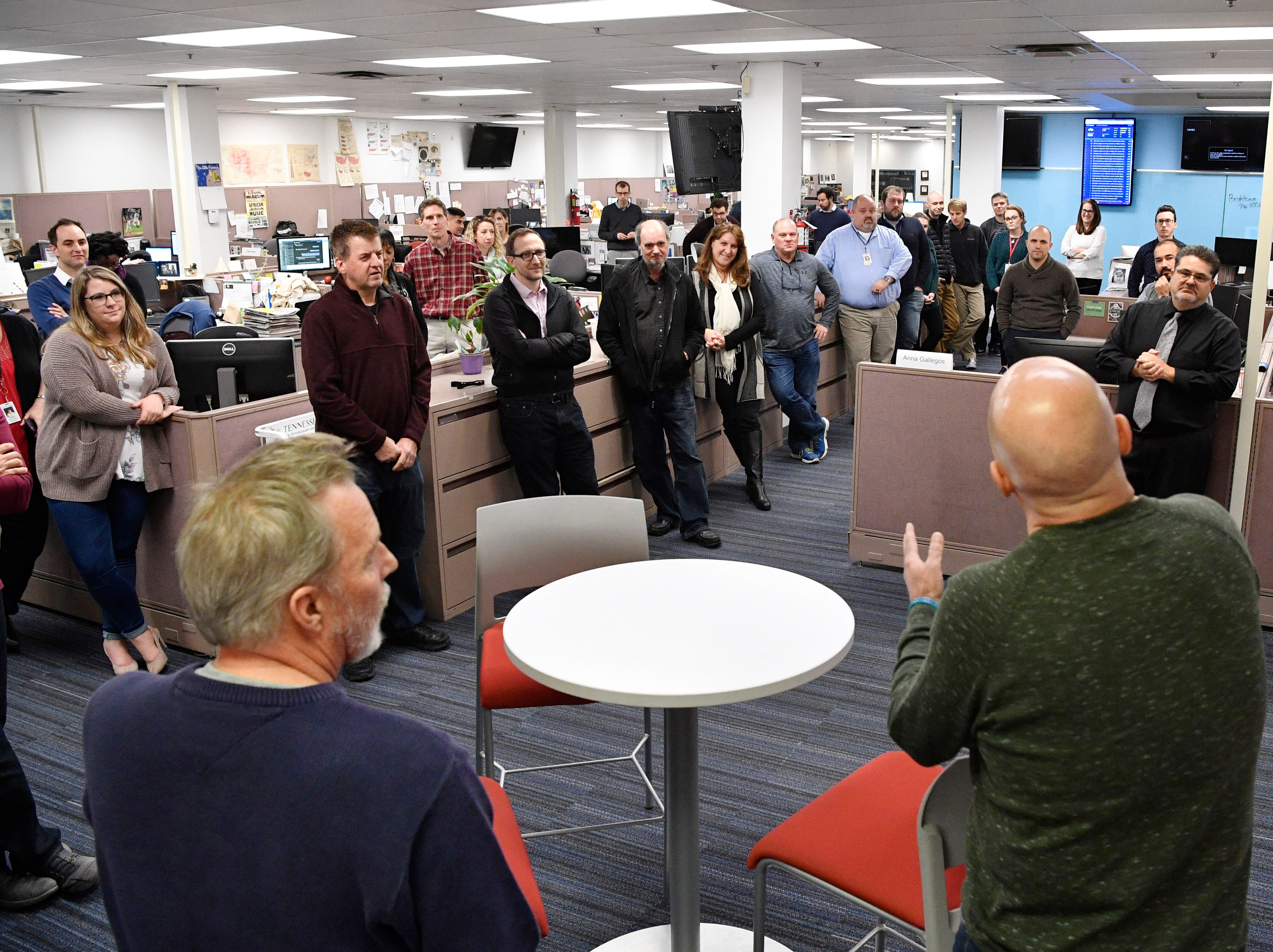 Kent Travis and Jeff Walter address the newsroom during their retirement party in The Tennessean newsroom Wednesday, Jan. 2, 2019, in Nashville.