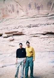 Louis Cicotello (left) and his brother, David, in front of the Great Galley in Horseshoe Canyon, Utah, a popular destination to view rock art in 2008.
