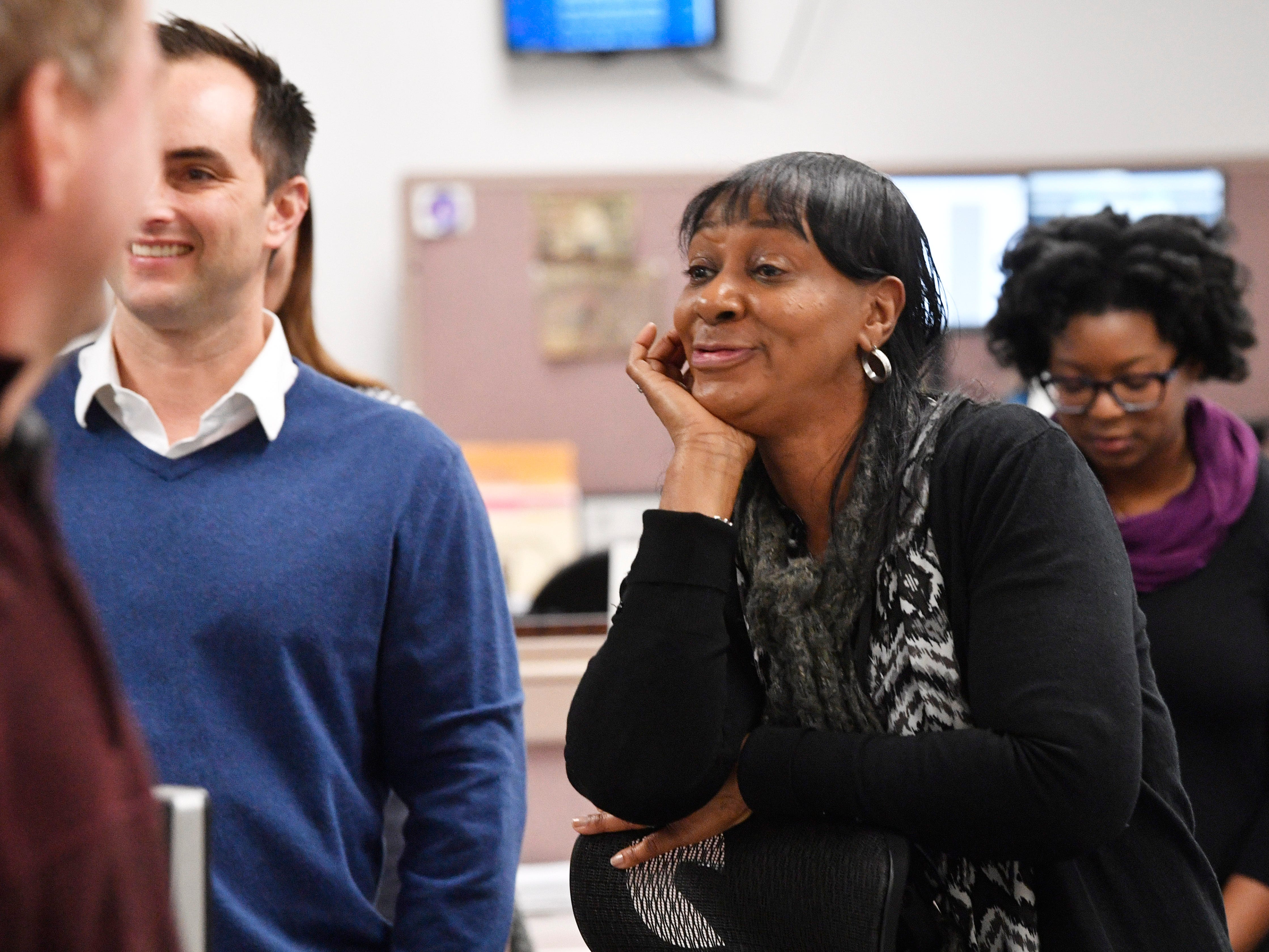 Beverly Burnett talks with colleagues in The Tennessean newsroom Wednesday, Jan. 2, 2019, in Nashville.